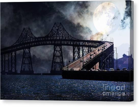 Sanfrancisco Canvas Print - Full Moon Surreal Night At The Bay Area Richmond-san Rafael Bridge - 5d18440 by Wingsdomain Art and Photography