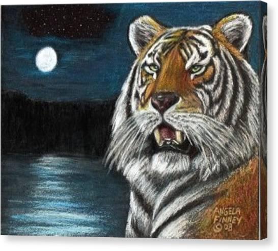 Full Moon Tiger Canvas Print by Angela Finney