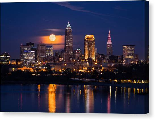 Full Moonrise Over Cleveland Canvas Print