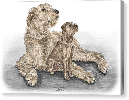 Full Of Promise - Irish Wolfhound Dog Print Color Tinted Canvas Print