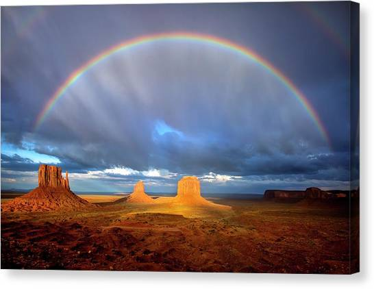 Full Rainbow Over The Mittens Canvas Print