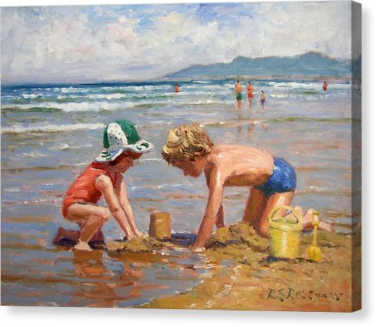 Boy And Girl Canvas Print - Fun At The Beach by Roelof Rossouw