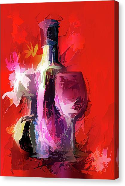 Fun Colorful Modern Wine Art   Canvas Print