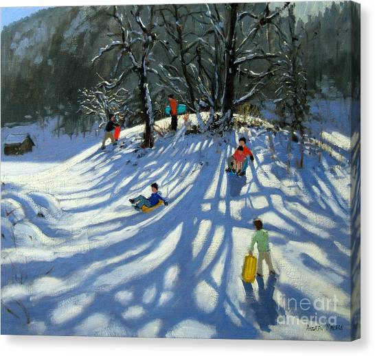 Ski Canvas Print - Fun In The Snow by Andrew Macara