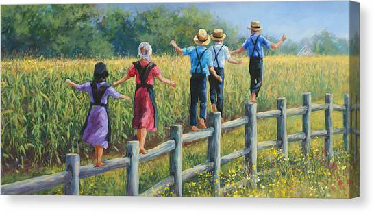 Amish Canvas Print - Girls Can To by Laurie Hein
