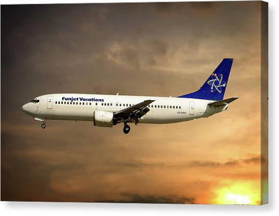 Vacations Canvas Print - Funjet Vacations Boeing 737-4yo by Smart Aviation