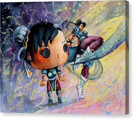 Street Fighter Canvas Print - Funko Chun Li by Miki De Goodaboom