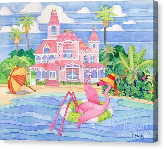 Funky Flamingo Hotel I Canvas Print by Paul Brent