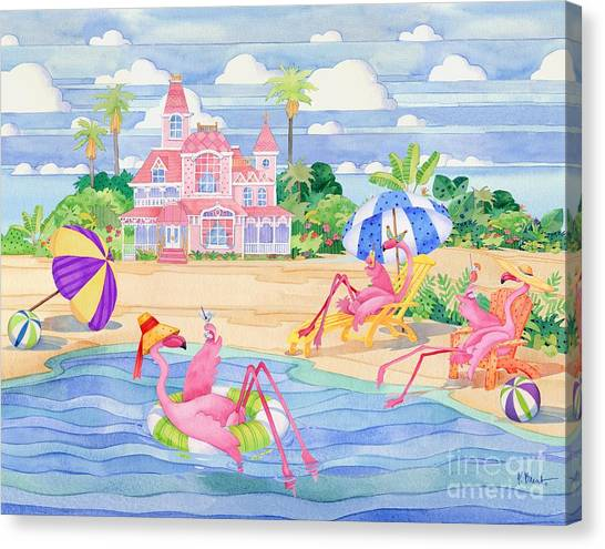 Funky Flamingo Hotel IIi Canvas Print by Paul Brent