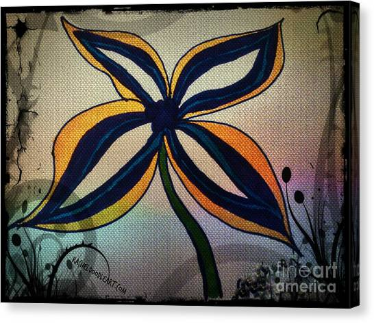 Canvas Print featuring the drawing Funky Flower by Rachel Maynard