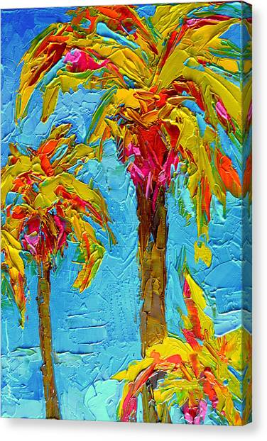 Funky Fun Palm Trees - Modern Impressionist Knife Palette Oil Painting Canvas Print