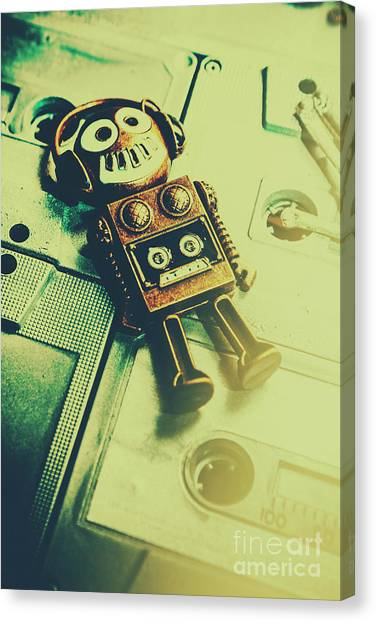 Headphones Canvas Print - Funky Mixtape Robot by Jorgo Photography - Wall Art Gallery