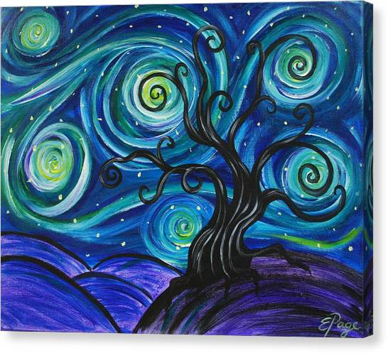 Funky Tree, Starry Night Canvas Print