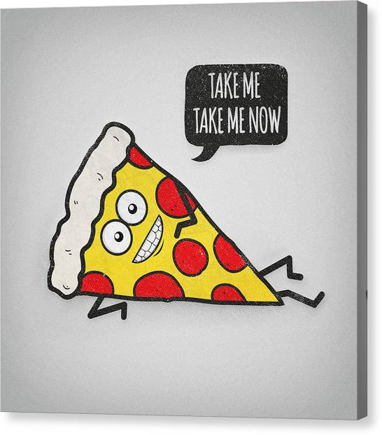 Pizza Canvas Print - Funny And Cute Delicious Pizza Slice Wants Only You by Philipp Rietz