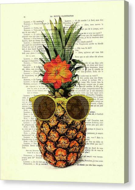 Humour Canvas Print - Funny And Cute Pineapple Art by Madame Memento