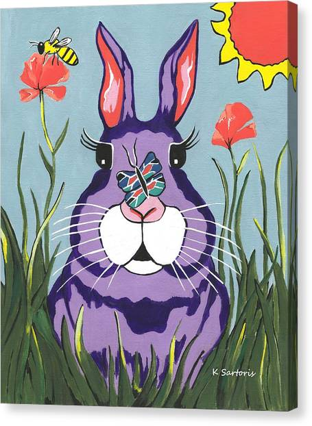 Funny Bunny - Happy Easter Canvas Print