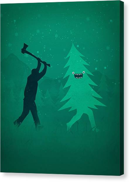 Xmas Canvas Print - Funny Cartoon Christmas Tree Is Chased By Lumberjack Run Forrest Run by Philipp Rietz