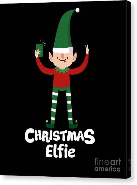 Canvas Print - Funny Christmas Elfie by Thomas Larch