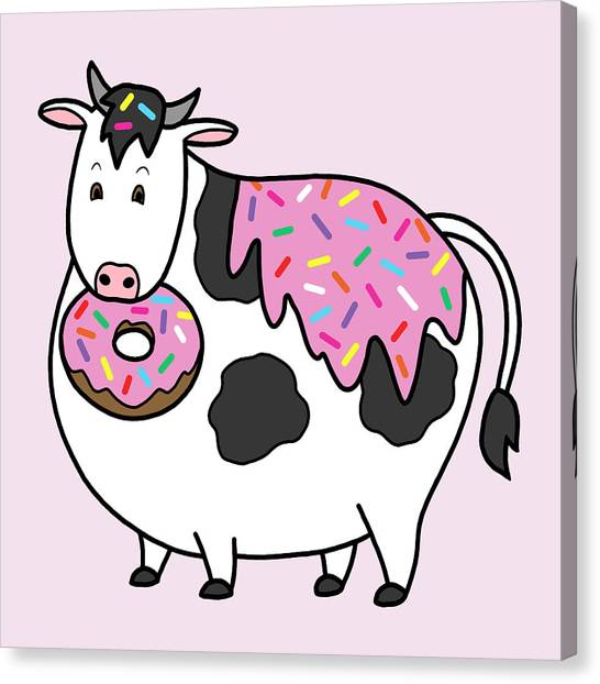 Doughnuts Canvas Print - Funny Fat Holstein Cow Sprinkle Doughnut by Crista Forest