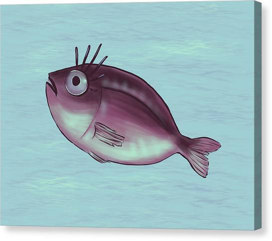 Funny Fish With Fancy Eyelashes Canvas Print