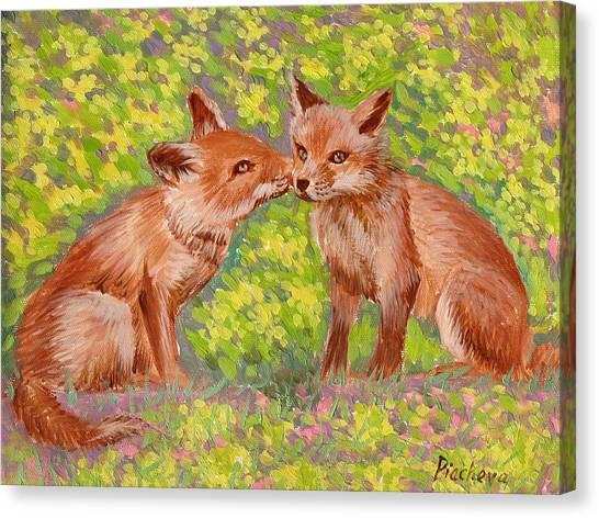 Funny Foxes .2007 Canvas Print by Natalia Piacheva
