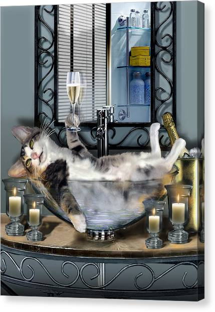 Champagne Canvas Print - Funny Pet Print With A Tipsy Kitty  by Regina Femrite