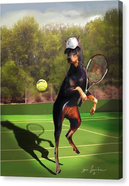 Tennis Racquet Canvas Print - funny pet scene tennis playing Doberman by Regina Femrite