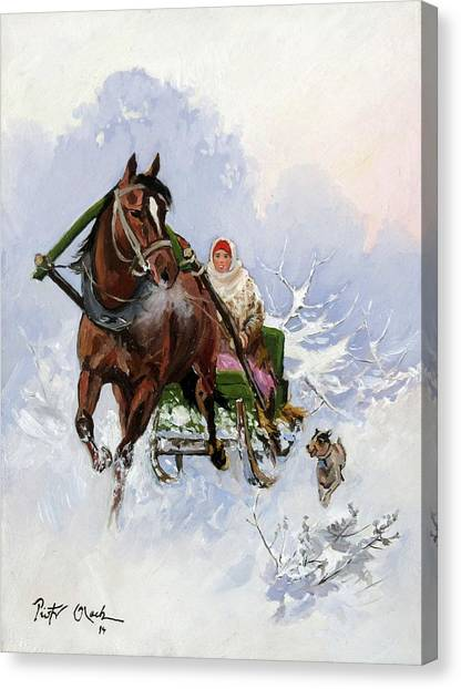 Funny Sleigh Ride Painting By Piotr Olech
