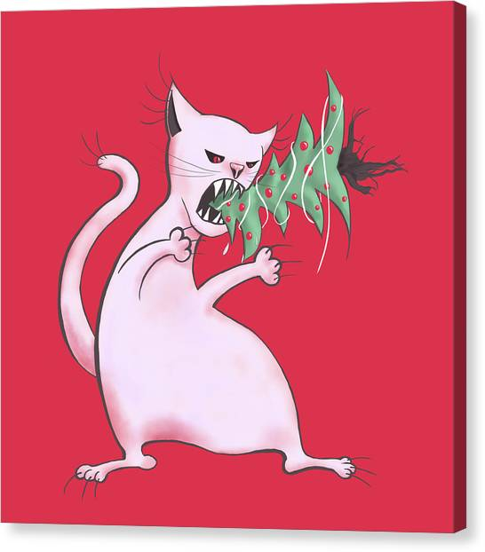 Funny White Cat Eats Christmas Tree Canvas Print
