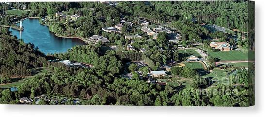 Gamma Phi Beta Canvas Print - Furman University Campus Aerial by David Oppenheimer