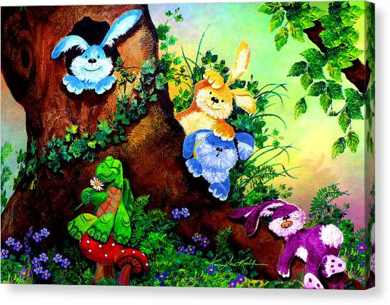 Easter Bunny Canvas Print - Furry Forest Friends by Hanne Lore Koehler