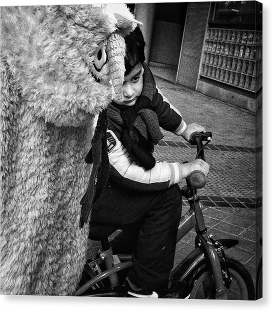 Kids Canvas Print - Furry In A Hurry! #kids #bike #bnw by Rafa Rivas