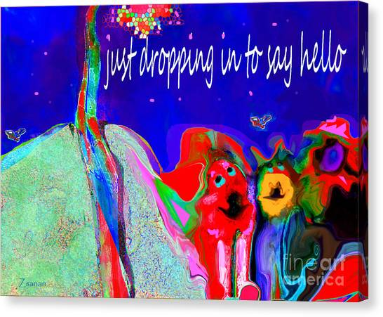 Furry Pals And A Bright Hello Canvas Print