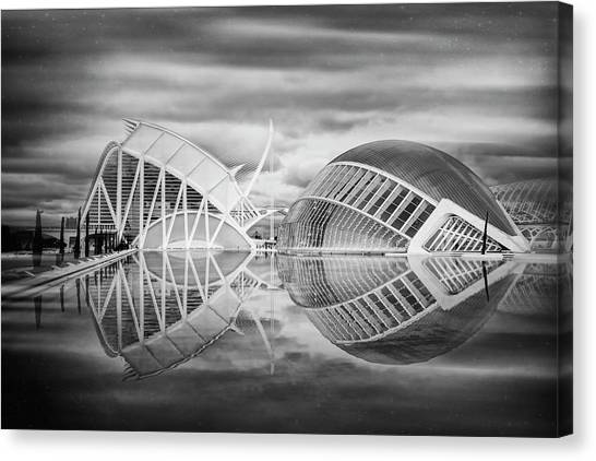 Futuristic Architecture Of Modern Valencia Spain In Black And Wh Canvas Print by Carol Japp