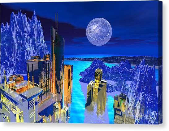 Canvas Print featuring the digital art Futuristic City by Deleas Kilgore