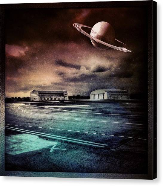 Saturn Canvas Print - Futuristic Landscape #iphone #instagram by Roberto Pagani