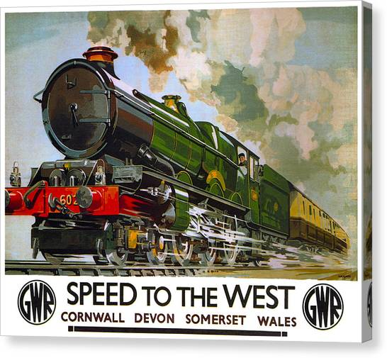Trainspotting Canvas Print - G W Railroad Speed To The West  1939 by Daniel Hagerman