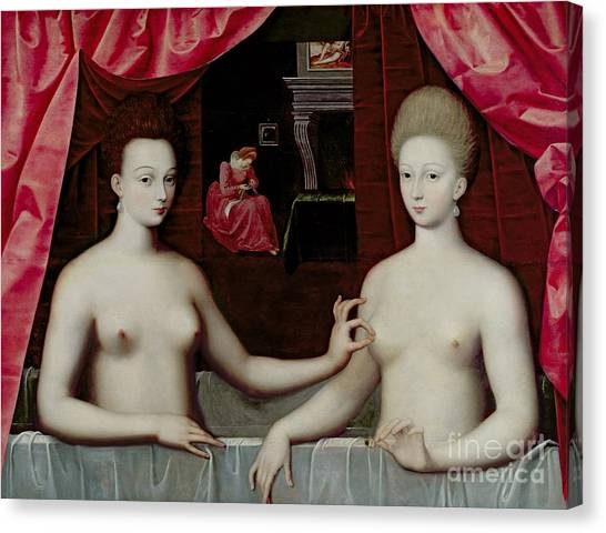 Nipples Canvas Print - Gabrielle Destrees And Her Sister The Duchess Of Villars by Fontainebleau School