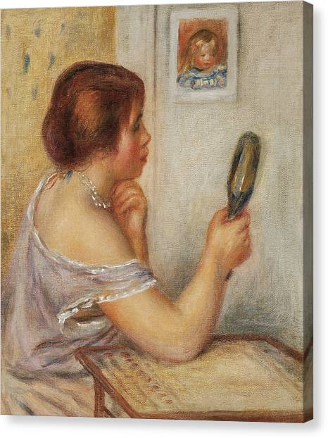 Pierre-auguste Renoir Canvas Print - Gabrielle Holding A Mirror Or Marie Dupuis Holding A Mirror With A Portrait Of Coco by Pierre Auguste Renoir