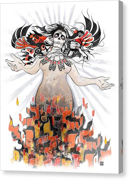 Dia Del Muerto Canvas Print - Gaia In Turmoil by Sassan Filsoof