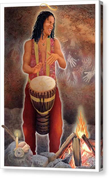 Djembe Canvas Print - Gaian Tarot Magician by Joanna Powell Colbert
