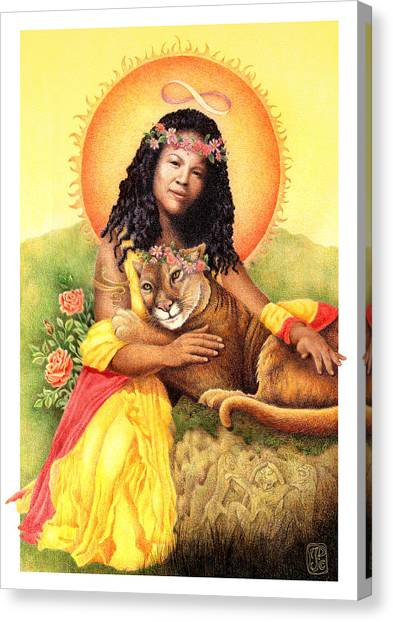 Gaian Tarot Strength Canvas Print by Joanna Powell Colbert
