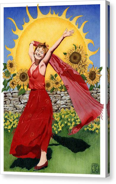 Gaian Tarot Sun Canvas Print by Joanna Powell Colbert