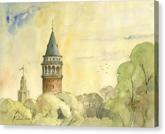 Turkeys Canvas Print - Galata Tower Istanbul by Juan Bosco
