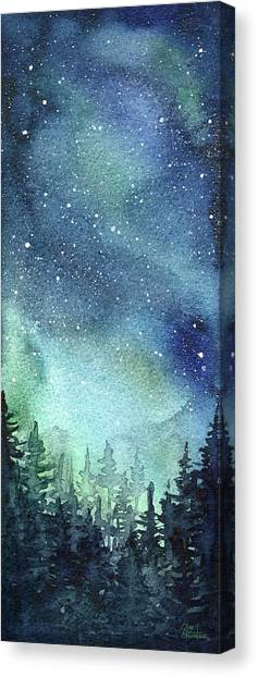 Constellations Canvas Print - Galaxy Watercolor Aurora Painting by Olga Shvartsur