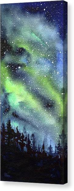 Constellations Canvas Print - Galaxy Watercolor Nebula Northern Lights by Olga Shvartsur