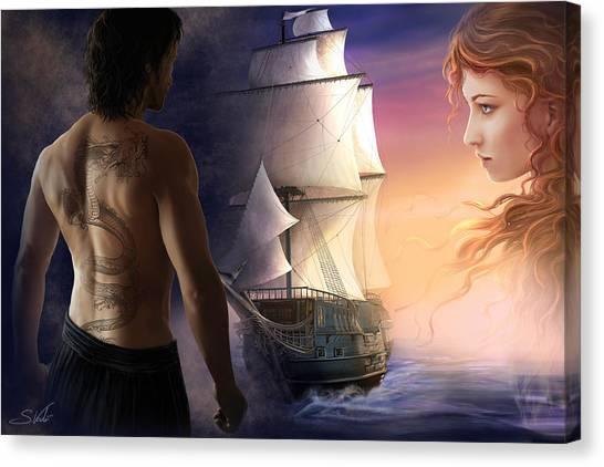 Galeon On The Horizon Canvas Print by Sonia Verdu