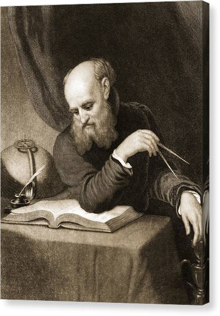 Academic Art Canvas Print - Galileo With Compass And Diagrams by American School