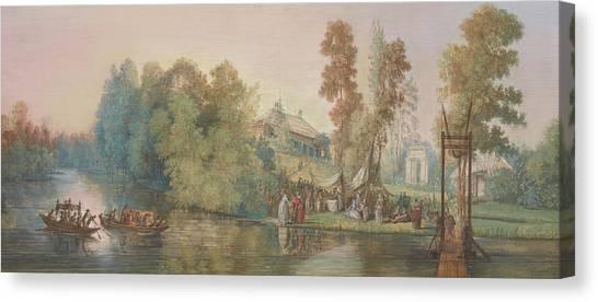 Follies Canvas Print - Gallant Scene  Picnic At A Lake, by Jean Pierre Norblin