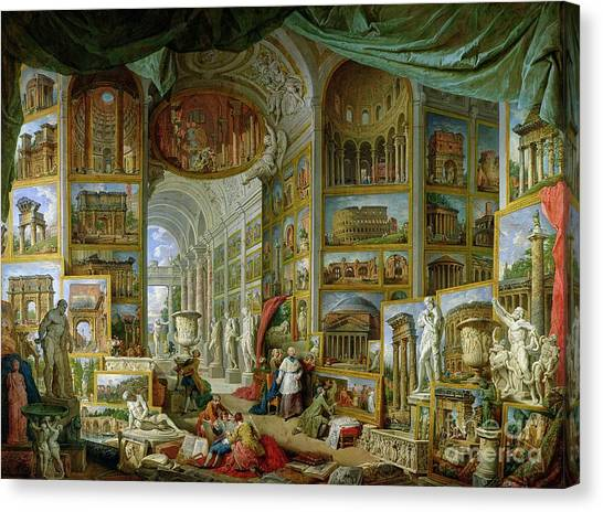 Ruin Canvas Print - Gallery Of Views Of Ancient Rome by Giovanni Paolo Pannini